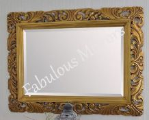 "X Large 48"" x 36"" LG French Carved Decorative Bevelled Mirror - 6.5"" Wide Frame"